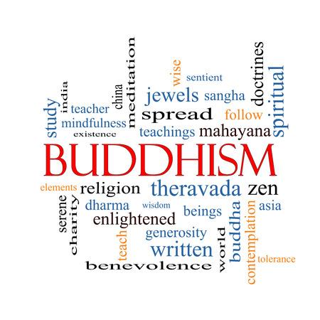 iluminados: Budismo Palabra Nube Concepto con los términos de la religión, enseñanzas, zen y más. Foto de archivo