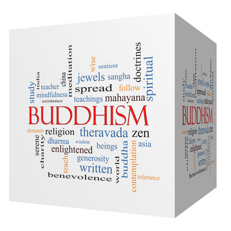 spiritual beings: Buddhism 3D cube Word Cloud Concept with great terms such as religion, teachings, zen and more. Stock Photo