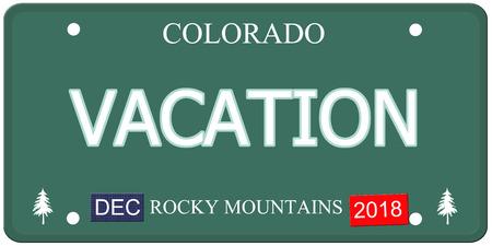 Een vervalste Colorado kentekenplaat met het woord VAKANTIE dat een geweldig concept maakt. Rocky Mountains op de bodem.