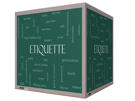 Etiquette Word Cloud Concept on a 3D cube Blackboard with great terms such as manners, polite, social and more. photo