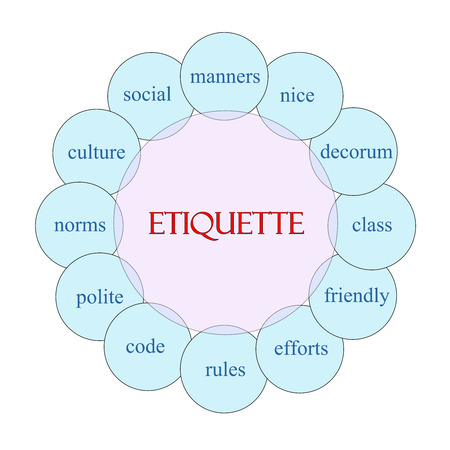 Etiquette concept circular diagram in pink and blue with great terms such as manners, nice, polite and more. Stock Photo