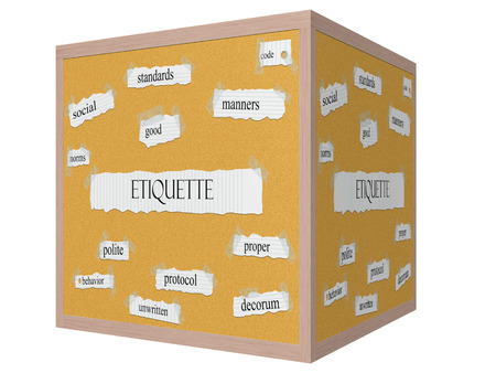 Etiquette 3D cube Corkboard Word Concept with great terms such as social, manners, code and more. photo