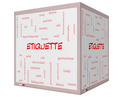 Etiquette Word Cloud Concept on a 3D cube Whiteboard with great terms such as manners, polite, social and more. photo