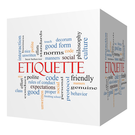 Etiquette 3D cube Word Cloud Concept with great terms such as manners, polite, social and more.