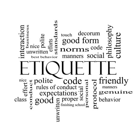 Etiquette Word Cloud Concept in black and white with great terms such as manners, polite, social and more. photo