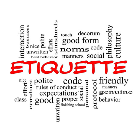 Etiquette Word Cloud Concept in red caps with great terms such as manners, polite, social and more.