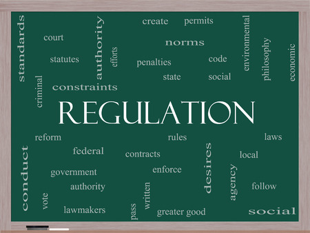 government regulations: Regulation Word Cloud Concept on a Blackboard with great terms such as rules, enforce, government and more. Stock Photo