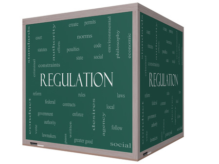 government regulations: Regulation Word Cloud Concept on a 3D cube Blackboard with great terms such as rules, enforce, government and more. Stock Photo