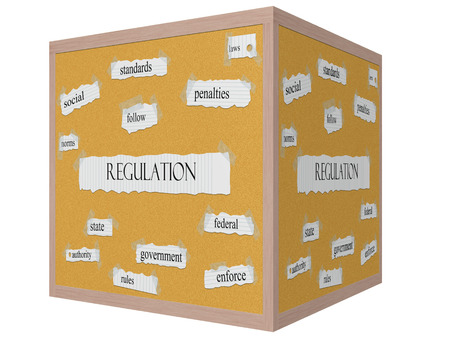 government regulations: Regulation 3D cube Corkboard Word Concept with great terms such as standards, enforce, rules and more.