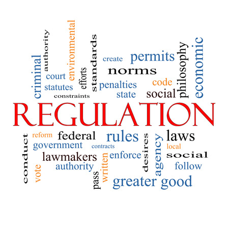 government regulations: Regulation Word Cloud Concept with great terms such as rules, enforce, government and more. Stock Photo