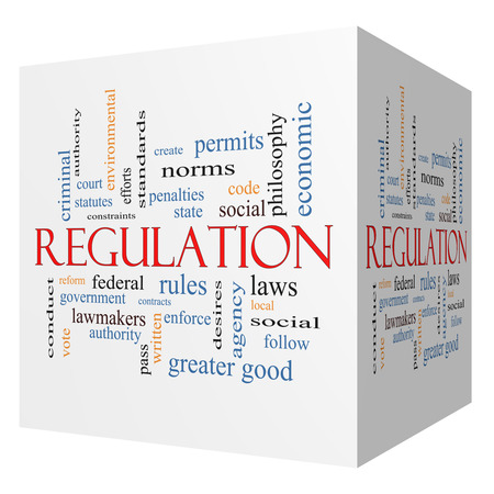 government regulations: Regulation 3D cube Word Cloud Concept with great terms such as rules, enforce, government and more. Stock Photo