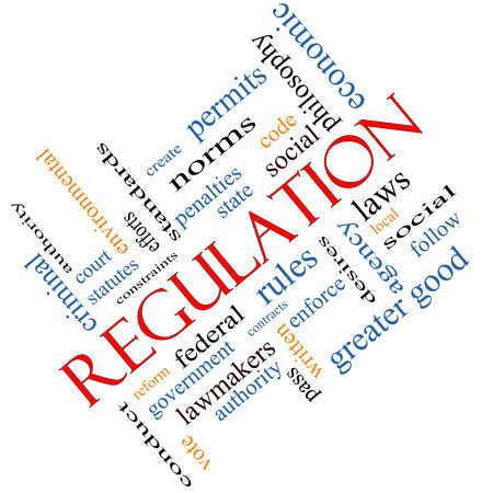 Regulation Word Cloud Concept angled with great terms such as rules, enforce, government and more. photo