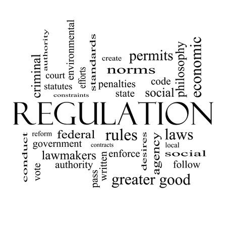 autoridad: Reglamento Palabra Nube Concepto en blanco con grandes términos como reglas y negro, hacer cumplir, el gobierno y más.