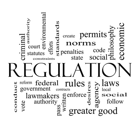 government regulations: Regulation Word Cloud Concept in black and white with great terms such as rules, enforce, government and more. Stock Photo