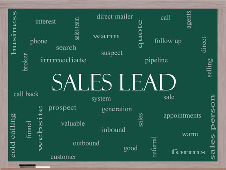 Sales Lead Word Cloud Concept on a Blackboard with great terms such as prospect, quote, funnel and more. photo