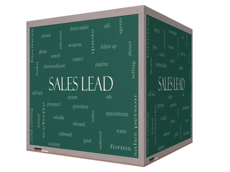 outbound: Sales Lead Word Cloud Concept on a 3D cube Blackboard with great terms such as prospect, quote, funnel and more. Stock Photo