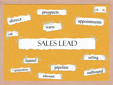 outbound: Sales Lead Corkboard Word Concept with great terms such as warm, funnel, pipeline and more.