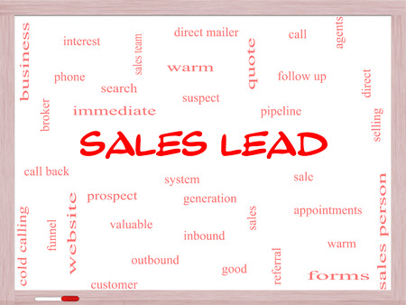 Sales Lead Word Cloud Concept on a Whiteboard with great terms such as prospect, quote, funnel and more. photo