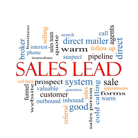 Sales Lead Word Cloud Concept with great terms such as prospect, quote, funnel and more. photo