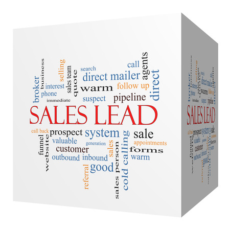 Sales Lead 3D cube Word Cloud Concept with great terms such as prospect, quote, funnel and more. photo