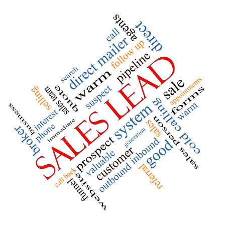 Sales Lead Word Cloud Concept angled with great terms such as prospect, quote, funnel and more. photo