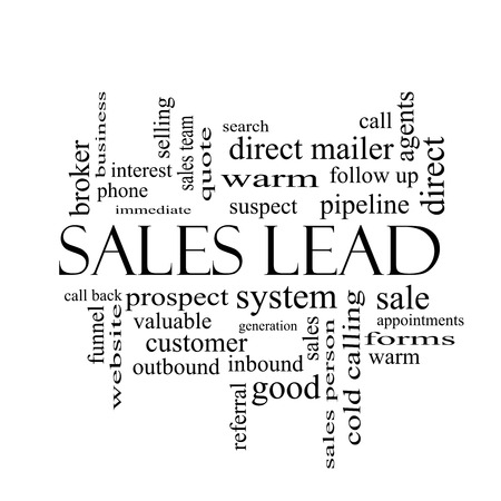outbound: Sales Lead Word Cloud Concept in black and white with great terms such as prospect, quote, funnel and more. Stock Photo