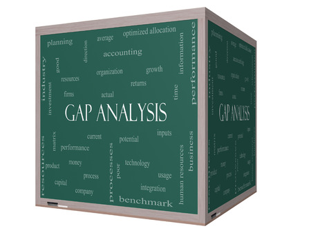 Gap Analysis Word Cloud Concept on a 3D cube Blackboard with great terms such as growth, money, capital and more. Zdjęcie Seryjne