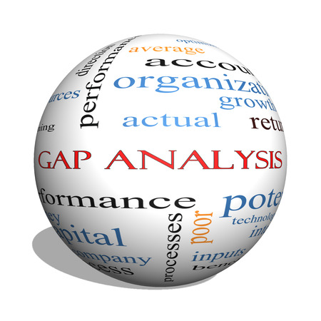 Gap Analysis 3D sphere Word Cloud Concept with great terms such as growth, money, capital and more.