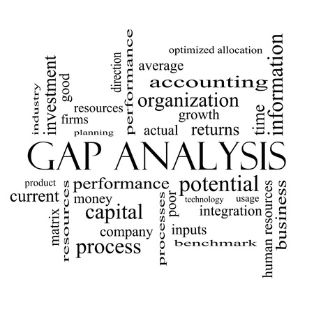 optimized: Gap Analysis Word Cloud Concept in black and white with great terms such as growth, money, capital and more. Stock Photo