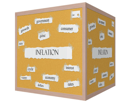 Inflation 3D cube Corkboard Word Concept with great terms such as interest, rates, index and more. Stock Photo