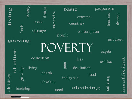 pauperism: Poverty Word Cloud Concept on a Blackboard with great terms such as poor, condition, people and more.