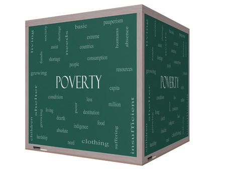 Poverty Word Cloud Concept on a 3D cube Blackboard with great terms such as poor, condition, people and more. Stock Photo