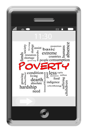 pauperism: Poverty Word Cloud Concept of Touchscreen Phone with great terms such as people, society, help and more. Stock Photo
