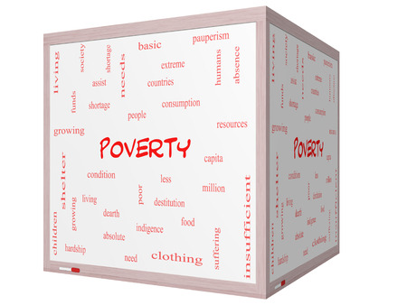 Poverty Word Cloud Concept on a 3D cube Whiteboard with great terms such as poor, condition, people and more. Stock Photo