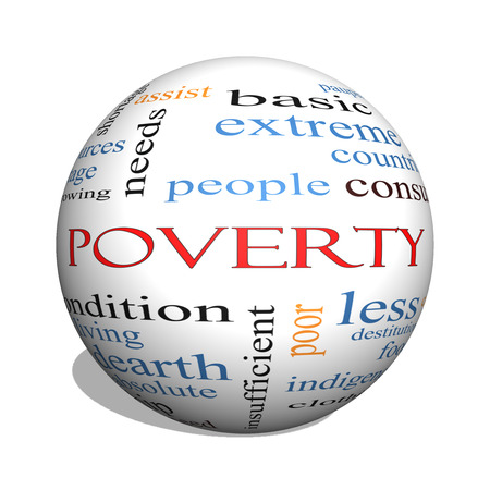 Poverty 3D sphere Word Cloud Concept with great terms such as poor, condition, people and more.