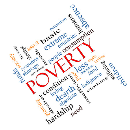 dearth: Poverty Word Cloud Concept angled with great terms such as poor, condition, people and more.
