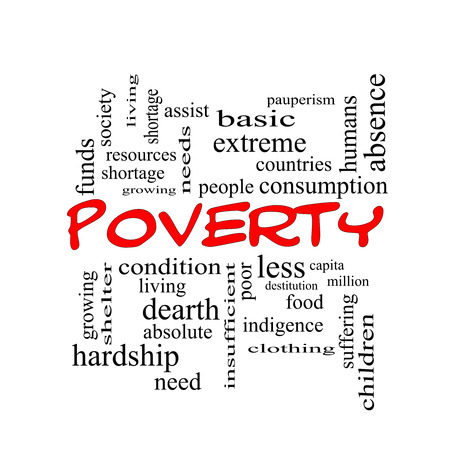 pauperism: Poverty Word Cloud Concept in red caps with great terms such as poor, condition, people and more. Stock Photo