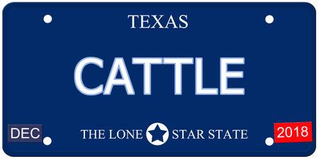 Een nep-imitatie Texas kenteken met het woord CATTLE en The Lone Star State het maken van een geweldig concept.