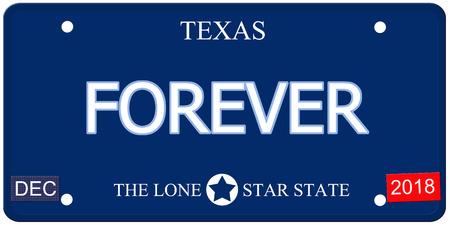 Een nep-imitatie Texas kenteken met het woord FOREVER en The Lone Star State het maken van een geweldig concept.