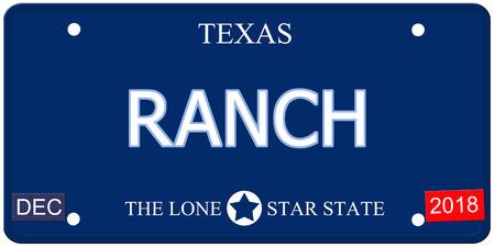 Een nep-imitatie Texas kenteken met het woord ranch en The Lone Star State het maken van een geweldig concept.