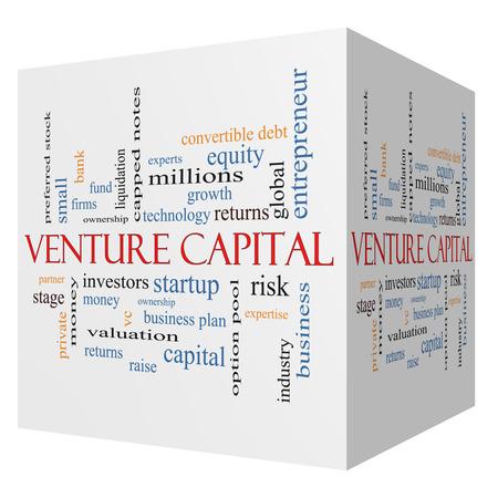 equidad: Venture Capital cubo 3D Palabra Nube Concepto con los términos tales como inversores, puesta en marcha, el riesgo y más.