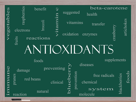 enzymes: Antioxidants Word Cloud Concept on a Blackboard with great terms such as foods, prevent, diseases and more. Stock Photo