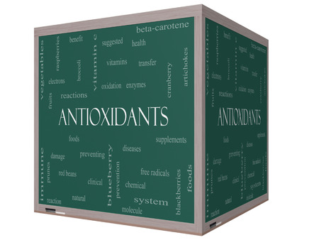 Antioxidants Word Cloud Concept on a 3D cube Blackboard with great terms such as foods, prevent, diseases and more.