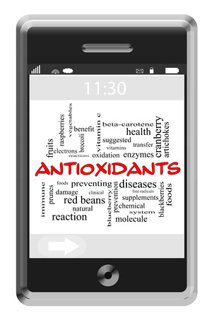 suggested: Antioxidants Word Cloud Concept of Touchscreen Phone with great terms such as food, healthy, prevention and more. Stock Photo
