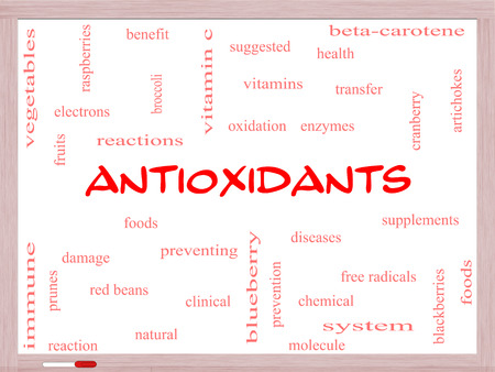 enzymes: Antioxidants Word Cloud Concept on a Whiteboard with great terms such as foods, prevent, diseases and more.