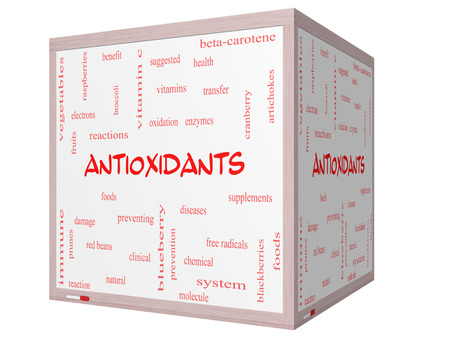 Antioxidants Word Cloud Concept on a 3D cube Whiteboard with great terms such as foods, prevent, diseases and more.