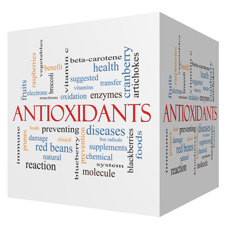 Antioxidants 3D cube Word Cloud Concept with great terms such as foods, prevent, diseases and more.