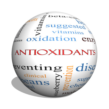 enzymes: Antioxidants 3D sphere Word Cloud Concept with great terms such as foods, prevent, diseases and more. Stock Photo