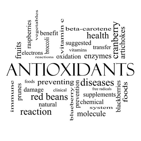Antioxidants Word Cloud Concept in black and white with great terms such as foods, prevent, diseases and more.