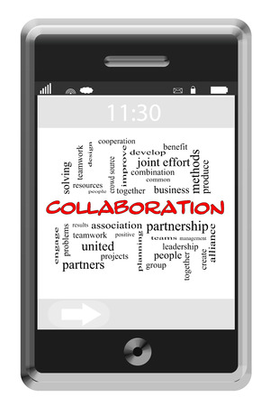 crowd source: Collaboration Word Cloud Concept of Touchscreen Phone with great terms such as teams, results, people and more.